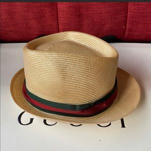 Gucci straw fedora hat 🎩